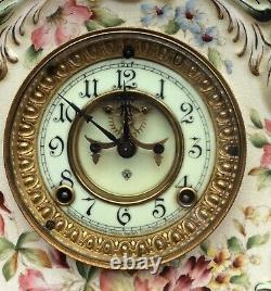 Ansonia Hand Painted Porcelain Visible Escapement Mantle Clock Working Perfectly