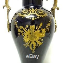 Antique 11´´ Sevres Porcelain Vase Urn Blue Cobalt Hand Painted Scene & Bronze