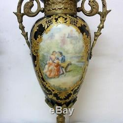 Antique 14.1/2´´ Sevres Porcelain Vase Urn Hand Painted Scene Lovers Bronze See