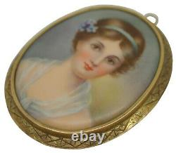 Antique 14K Yellow Gold Hand Painted Porcelain Cameo Portrait Brooch Pendant