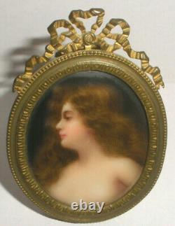Antique 1800`s hand painted semi nude woman miniature portrait porcelain plaque