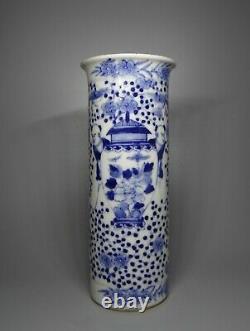 Antique 18th C Chinese Kangxi Mark Porcelain Blue and White Vase