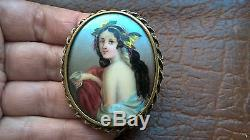 Antique 1910s Edwardian Hand Painted Porcelain Portrait Hair Lily Brooch