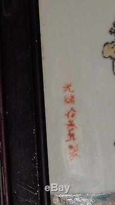 Antique 19c Chinese Hand Painted Porcelain Seated Emperor Plaque, Signed & Sealed