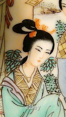 Antique 19c Chinese Porcelain Hand Painted Famille Verte Plaque Three Women