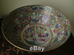Antique 19th century Chinese Canton Famille Rose Porcelain Punch Bowl