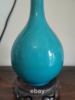 Antique 19thc chinese porcelain turquoise glazed long neck vase Qing