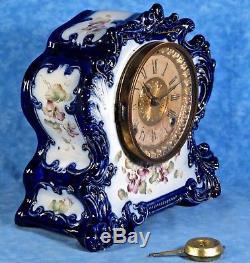 Antique Ansonia TRIBUTE Porcelain Mantel Clock- Cobalt, Hand Painted Florals