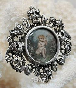 Antique Art Nouveau French Hand Painted Porcelain Sterling Silver Dragon Brooch