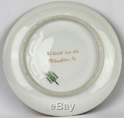 Antique BTD Limoges Green Porcelain Cup Saucer Embossed Gilded Hand Painted Bird