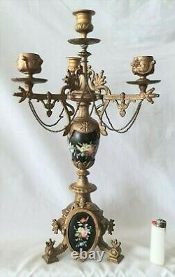 Antique Candleabras Candlesticks 3 Arm Porcelain Hand Painted Italian French