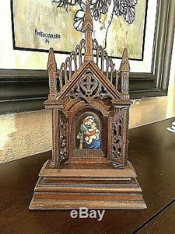 Antique Chapel Triptych Hand Painted KPM Porcelain Plaque Madonna Gothic Style