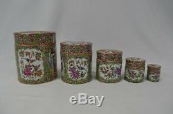 Antique Chinese Canton Famille Rose Porcelain Lidded Pot Jar x 5 Rare Set VGC