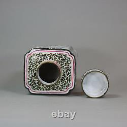 Antique Chinese Canton enamel square-section tea canister and cover, Qianlong 1