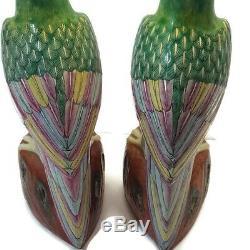 Antique Chinese Export Famille Rose Pair Enameled Porcelain Parrots Birds c. 1900