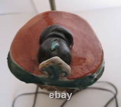 Antique Chinese Goddess Magu Famille Rose Porcelain Statue Lamp on Brass Base