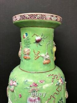 Antique Chinese Hand Painted Enamel porcelain Vase, Height 23 1/2
