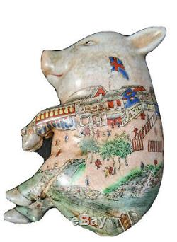 Antique Chinese Hand Painted Porcelain Sleeping Pig Figurine From Qing Dynasty