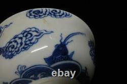 Antique Chinese Hand Painting Dragons B/W Porcelain Bowl KangXi Mark