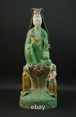 Antique Chinese Kangxi Sancai Glaze Biscuit Porcelain Guanyin And Child Figurine
