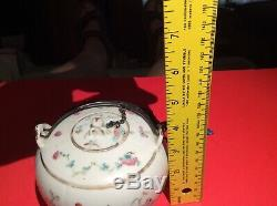 Antique Chinese Porcelain Teapot & Cover w chain & stopper hand painted SIGNED