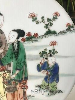 Antique Chinese Qing Famille Verte Figural Panel
