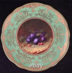 Antique Coalport Porcelain Plate Hand Painted With Fruit By Fh Chivers