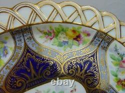 Antique Copeland English Handpainted Cobalt Porcelain Bowl Underplate Flowers