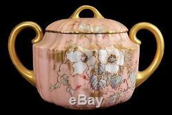 Antique Doulton Burslem Hand Painted Porcelain Teapot Creamer Sugar Bowl