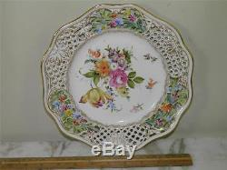 Antique Dresden Pocelain Hand Painted Floral Reticulated Plate
