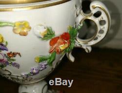Antique Dresden porcelain egg shaped urn vase cherub angel hand painted scenes