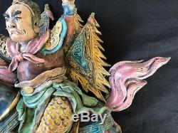 Antique Early 20th Century Chinese Roof Tile. Rare Warrior & horse Subject