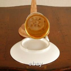 Antique Empire porcelain French cabinet cup & saucer gilded 19th c Sevres style