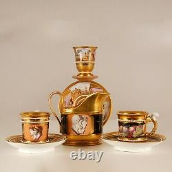 Antique Empire porcelain French cabinet cup & saucer gilt 19th c Sevres style