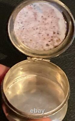 Antique English Sterling Silver Handpainted Porcelain Portrait Snuff Pill Box