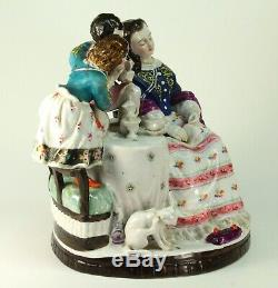 Antique FINE Porcelain Hand Painted Large Figural Group Tea Time Statue Figure