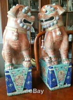 Antique Foo Dogs Imperial Lions Porcelain Statues Famille Verte 17 tall