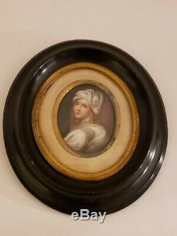 Antique Framed 19th C. Victorian Oval Portrait KPM Hand Painted Porcelain Plaque