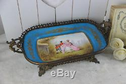 Antique French 1925 Centerpiece coupe table in sevres porcelain hand paint