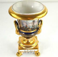 Antique French Empire Paris Porcelain Vase Hand Painted Harbour Scene