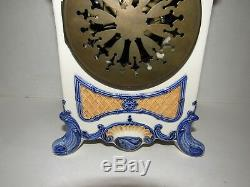 Antique French Hand Painted Porcelain Clock, 8 Day, Time/strike