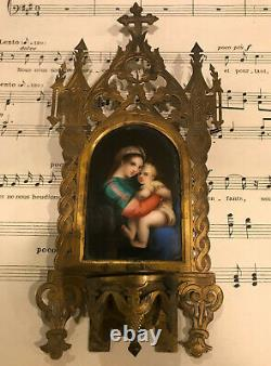 Antique French Madonna & Child Hand Painted Porcelain Icon Holy Water Font c1880
