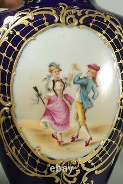 Antique French Pair of Vases Cobalt Blue Hand Painted Paris Porcelain Limoges