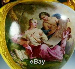 Antique French Porcelain Urn Hand Painted Satyr Gilt Bronze Handles Sevres Style