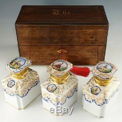 Antique French Rosewood Tea Caddy Box, Hand Painted Paris Porcelain Bottles