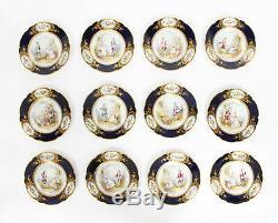 Antique French Sevres Chapuis Hand-Painted Porcelain Gilt Set 12 Plates 18th C