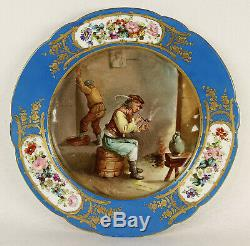 Antique French Sevres Hand Painted Porcelain Plate Signed 9 5/8 (24.5 cm)