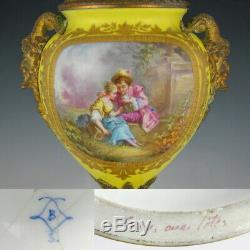 Antique French Sevres Style Hand Painted Scene Porcelain Urn Satyr Bronze Handle