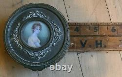 Antique French brass box withhand painted miniature portrait on lid