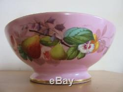 Antique French porcelain large centerpiece bowl hand painted Pink Flowers, fruit